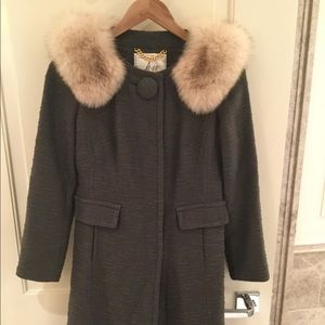 MILLY gray Katherine coat with fur collar